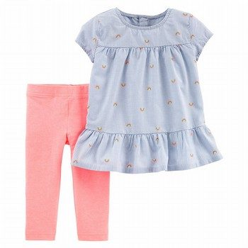 Carter's 2PC Rainbow Peplum Top & Legging Set