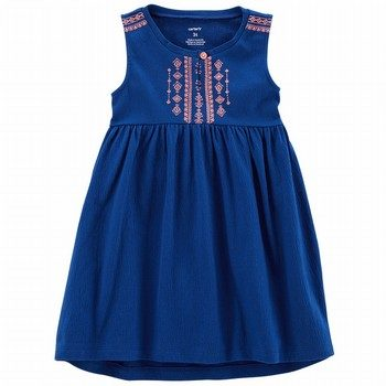 Carter's Embroidered Crinkle Jersey Dress