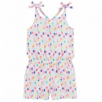 Carter's Polka Dot Tie Shoulder Romper