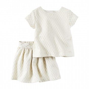 Carter's 2PC Metallic Jacquard Top & Skirt Set