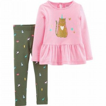Carter's 2PC Caticorn Peplum Top & Legging Set