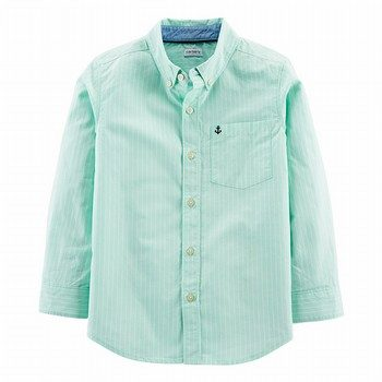 Carter's Striped Poplin Button-Front L/S Shirt