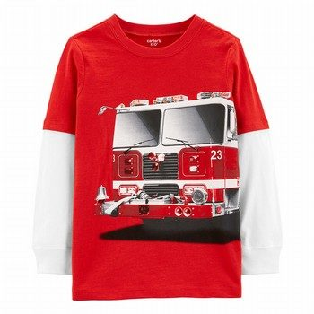 Carter's Firetruck Layered-Look Jersey Tee