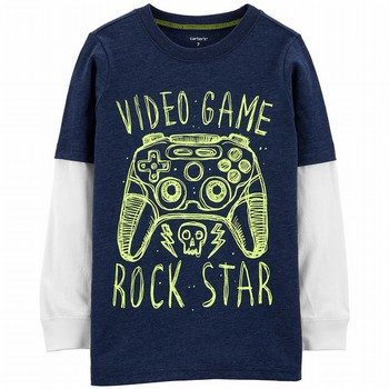 Carter's Video Game Snow Yarn Layered-Look Tee