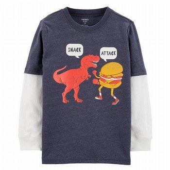 Carter's Snack Attack Dinosaur Layered-Look Tee