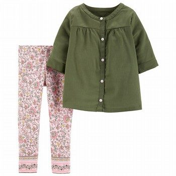 Carter's 2PC Button-Front Top & Floral Legging Set