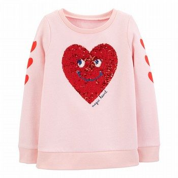 Carter's Flip Sequin Heart Fleece Sweatshirt