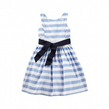 Oshkosh Pleat Gather Mix Stripe dress