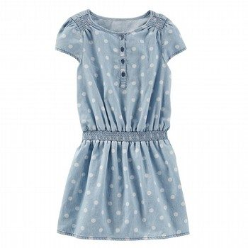 OshKosh Dotted Chambray Drop-Waist Dress