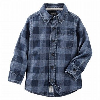 OshKosh Buffalo Check Chambray Button-Front Shirt