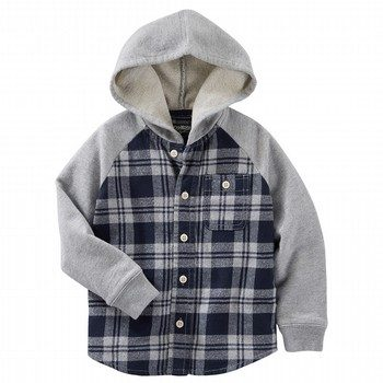 OshKosh Flannel & French Terry Hooded Shirt Jacket