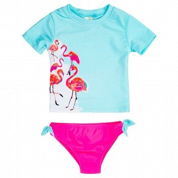 Oshkosh 2PC Flamingo Rashie & Boarshort Set