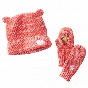 Bear Beanie and Paw Mitten Set