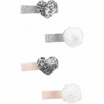 Carter's 4PK Pompom & Heart Hair Clips