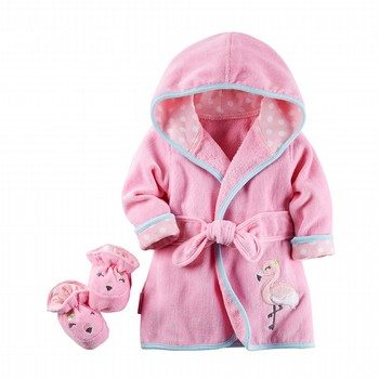 Carter's 2PC Flamingo Robe & Bootie Set