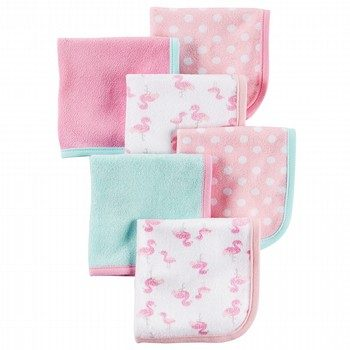 Carter's 6PK Flamingo Washcloths