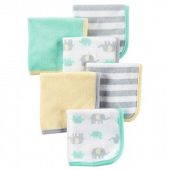 Carter's 6PK Elephant Washcloths