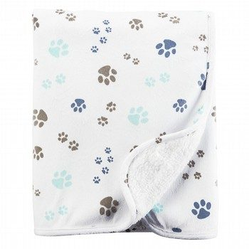 Carter's Paw Print Plush Blanket