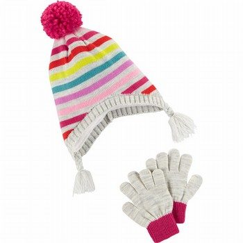 Carter's Pom Pom Hat & Glove Set