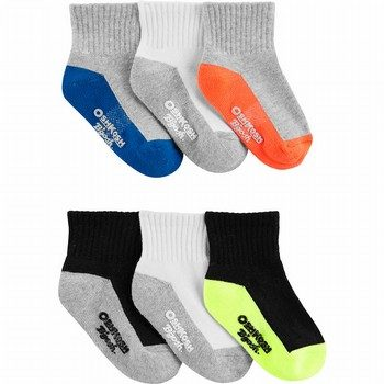 OshKosh B'gosh 6PK Athletic Quarter Crew Socks