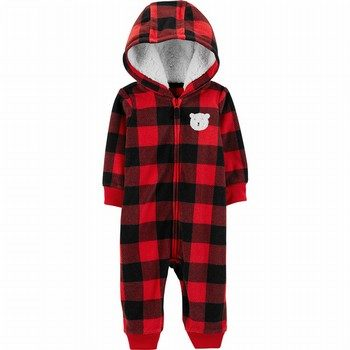 Carter's Buffalo Check Zip-Up Fleece Jumpsuit