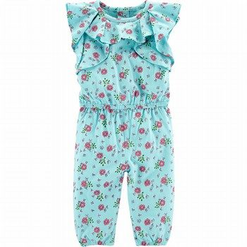 Carter's Floral Ruffle-Sleeve Jumpsuit