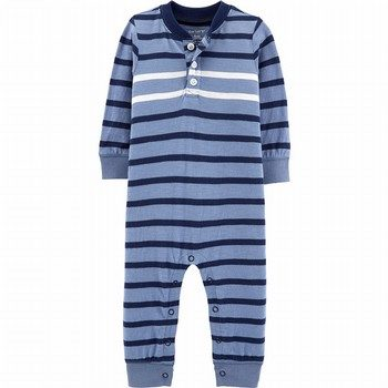 Carter's Striped Henley-Style Jumpsuit