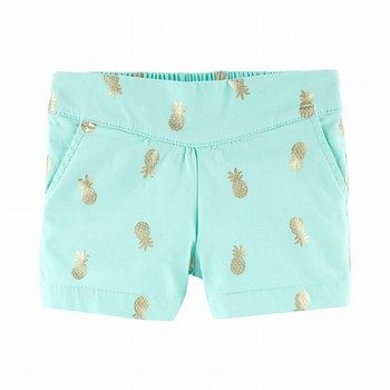 OshKosh B'gosh Pleated Pull-On Pineapple Shorts