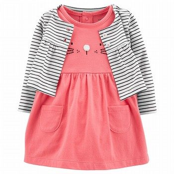 Carter's 2PC Cat Bodysuit Dress & Cardigan Set
