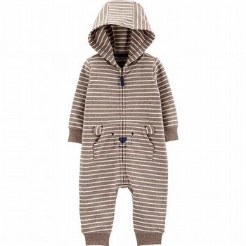 Carter's Striped Hooded French Terry Jumpsuit