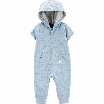 Carter's Dog Print Hooded French Terry Jumpsuit
