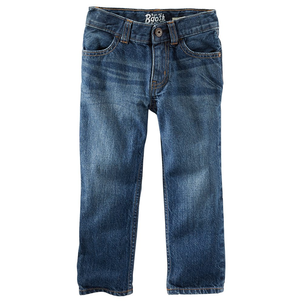 Boys' Clothing (Newborn - 4T) > Boys' Clothing (Newborn - 4T) This OshKosh B'gosh Pinstriped Overall is a durable and convenient outfit for child's play. Fashioned from grey-washed pinstriped durable cotton, it has metal buttons and an aged vintage look.