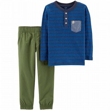 Carter's 2PC Slub Henley & Poplin Pant Set