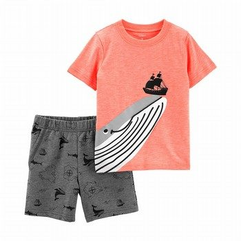 Carter's 2PC Whale Jersey Tee & French Terry Short Set