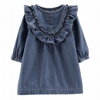 Carter's Twill Denim Ruffle Dress