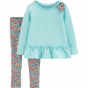 Carter's 2PC Bow Ruffle Top & Floral Legging Set