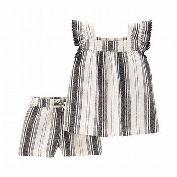 Carter's 2PC Striped Flutter Top & Linen Short Set