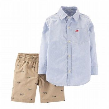 Carter's 2PC Striped Top & Hero Vehicle Short Set