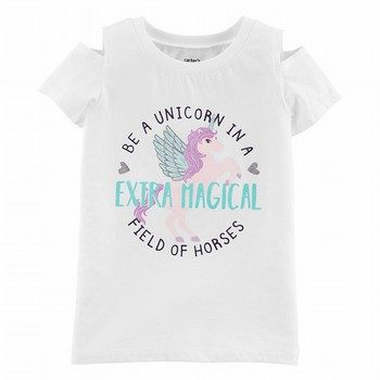 Carter's Glitter Unicorn Split Shoulder Hi-Lo Tee
